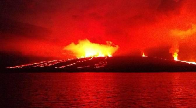 Alerta naranja en Galápagos por erupción del volcán Sierra Negra